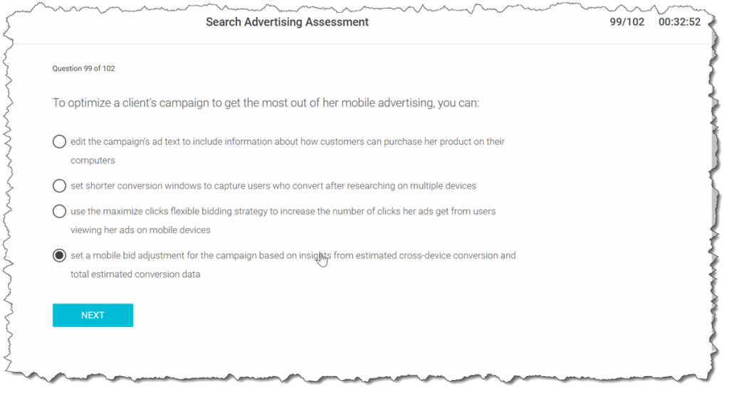 To optimize a client's campaign to get the most out of her mobile advertising, you can: