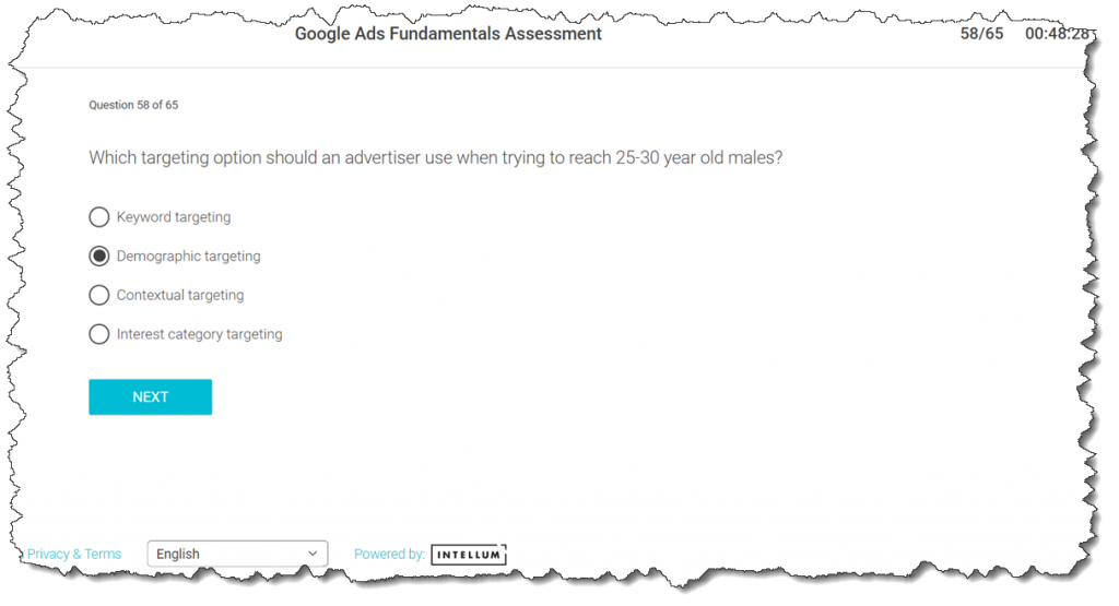 Which targeting option should an advertiser use when trying to reach 25-30 year old males?