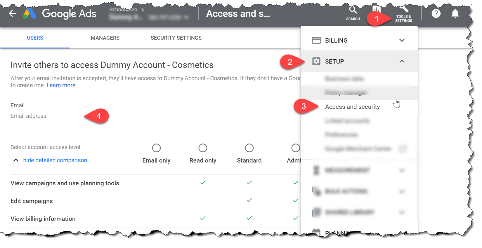 How to share Google Ads account access with individual and Google Ads Manager (MCC) account