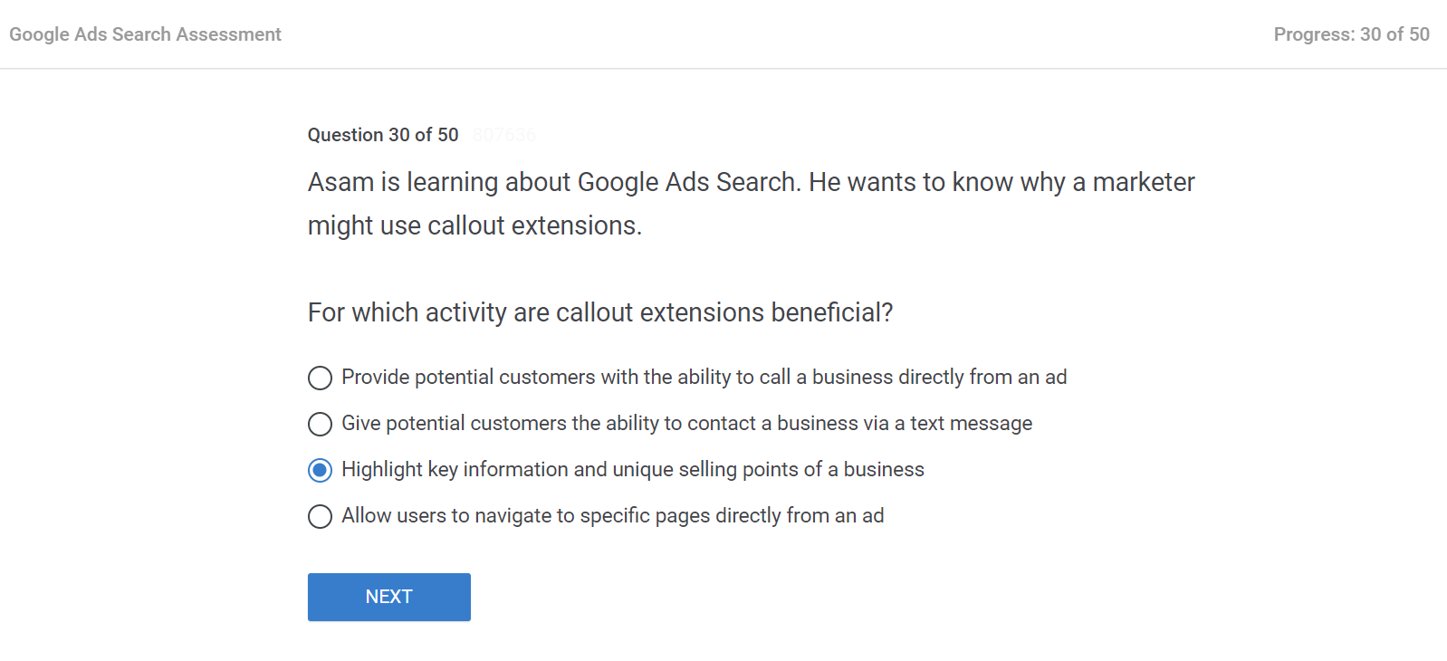 Asam is learning about Google Ads Search. He wants to know why a marketer might use callout