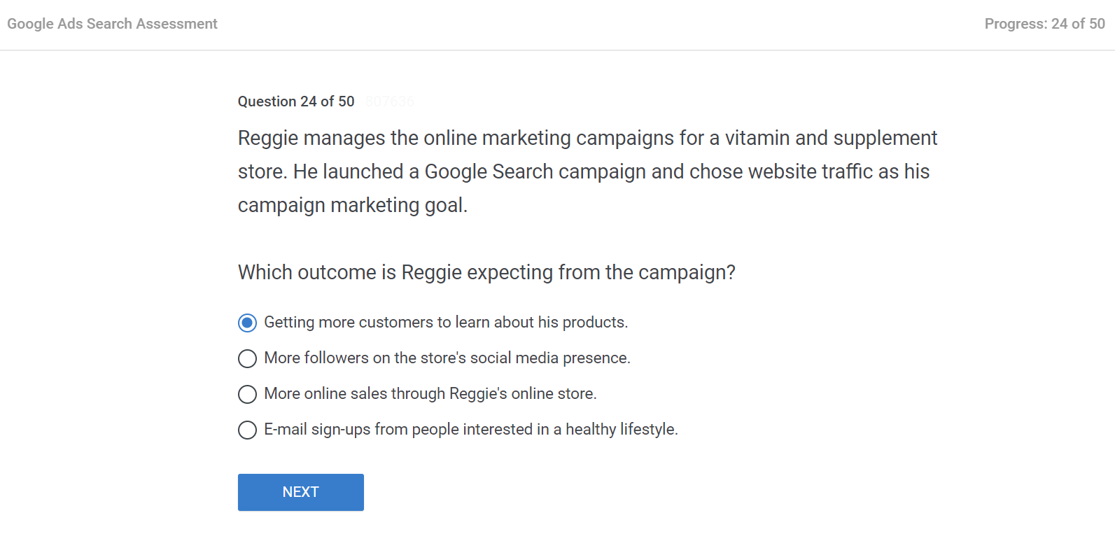 Reggie manages the online marketing campaigns for a vitamin and supplement store