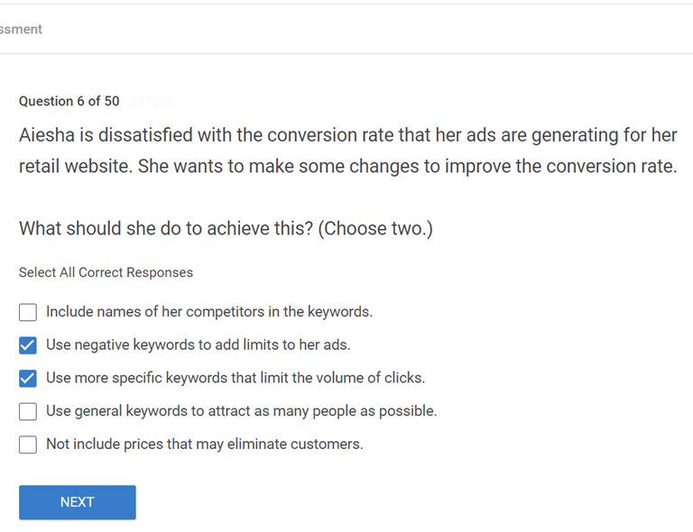 Aiesha is dissatisfied with the conversion rate that her ads are generating for her retail website