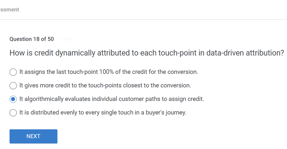 How is credit dynamically attributed to each touch point in data driven attribution