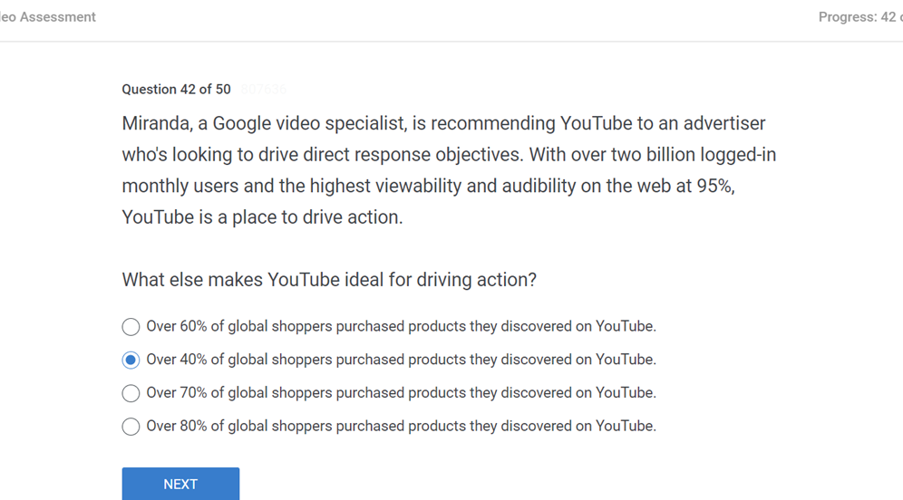 Miranda a Google video specialist is recommending YouTube to an advertiser whos looking to drive direct response objectives