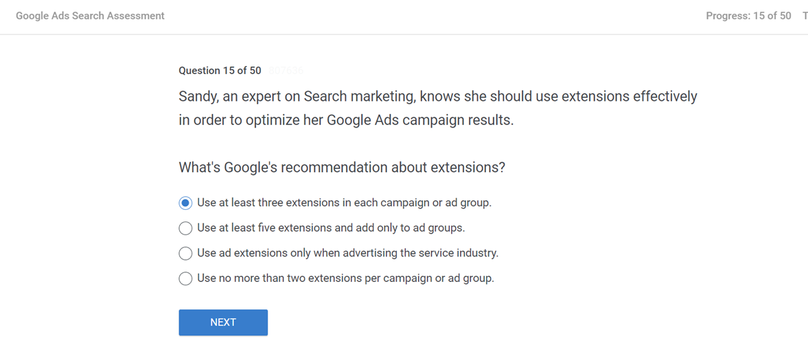 Sandy an expert on Search marketing knows she should use extensions effectively in order to optimize her Google Ads campaign results