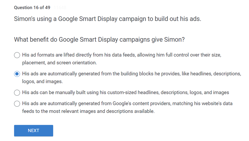 Simons using a Google Smart Display campaign to build out his ads. What benefit do Google Smart Display campaigns give Simon