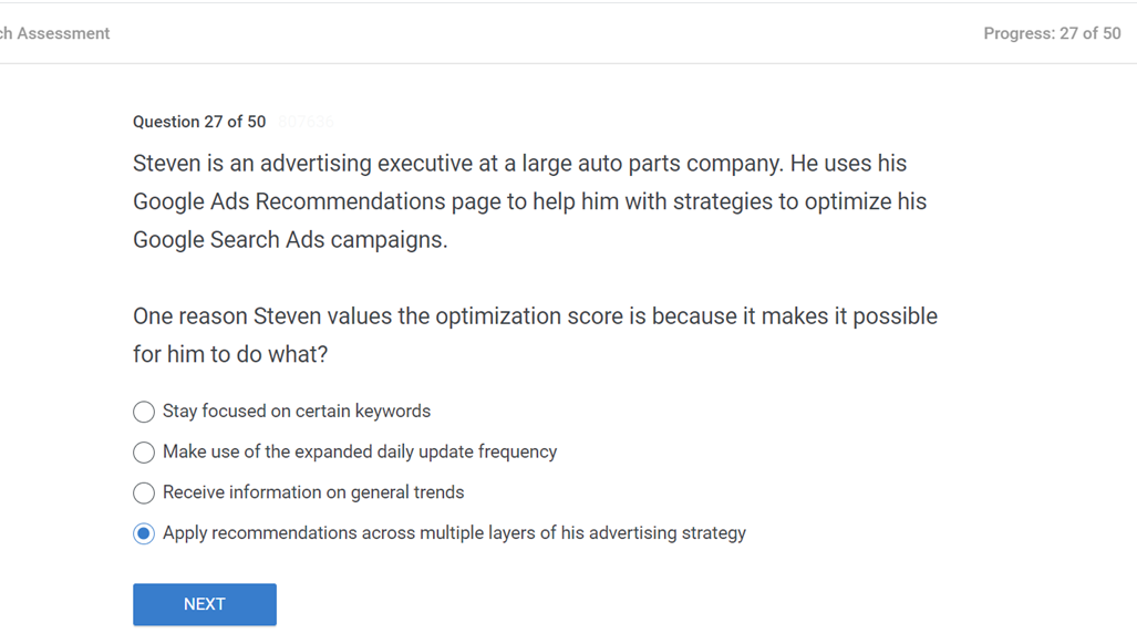 Steven is an advertising executive at a large auto parts company. He uses his Google Ads Recommendations page to help