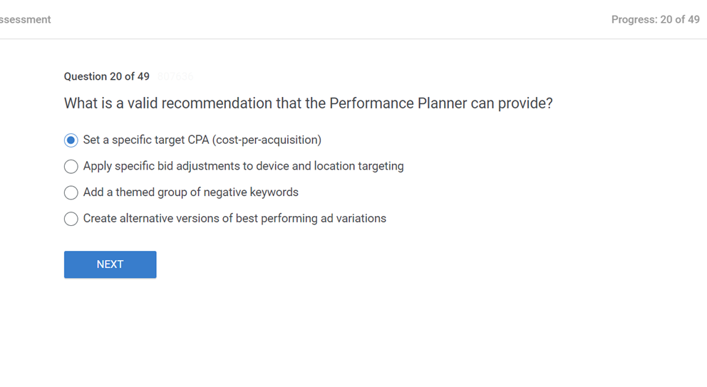 What is a valid recommendation that the Performance Planner can provide
