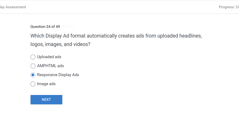 Which Display Ad format automatically creates ads from uploaded headlines logos images and videos