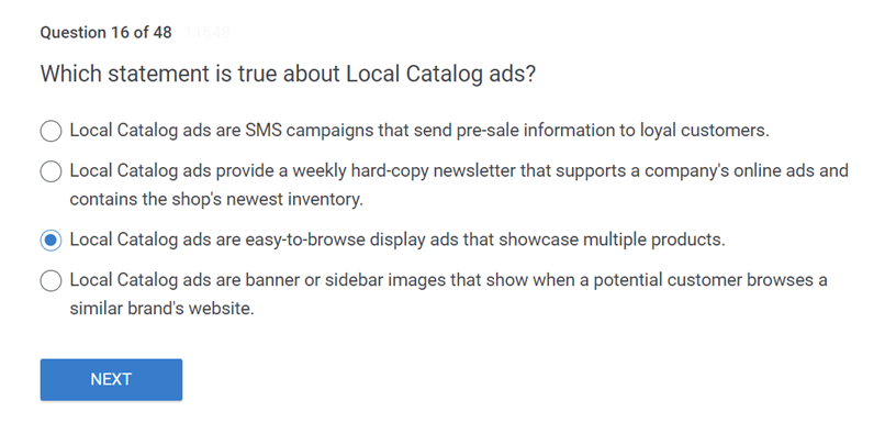 Which statement is true about Local Catalog ads