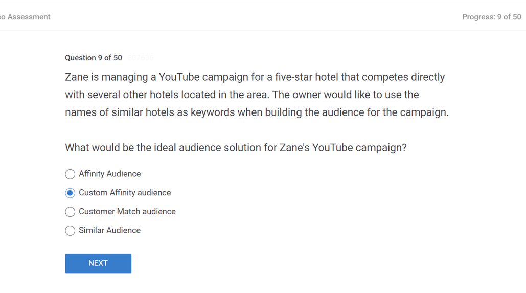 Zane is managing a YouTube campaign for a five star hotel that competes directly with several other hotels located in the area