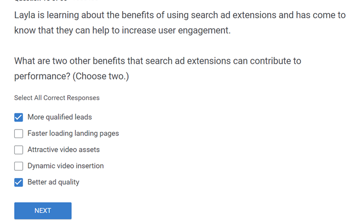 Layla is learning about the benefits of using search ad extensions and has come to know that they can help to increase user engagement. What are two other benefits that search ad extensions can co