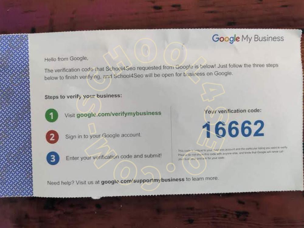 GMB Verification Code